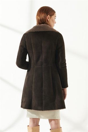WOMEN FUR COATSANDRA Women Casual Brown Shearling Coat