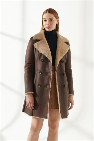 SANDRA Women Casual Tan Shearling Coat