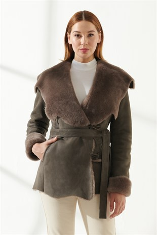 SYDNEY Women Casual Grey Shearling Coat