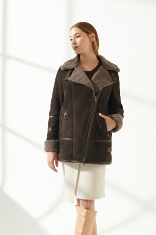 ANGEL Women Casual Brown Shearling Jacket