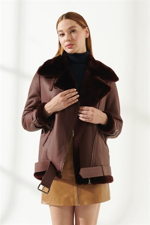 ARIANA Women Oversize Bordeaux Shearling Jacket