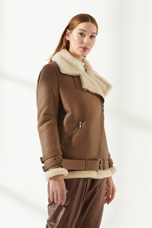 ARIANA Women Oversize Tan Shearling Jacket