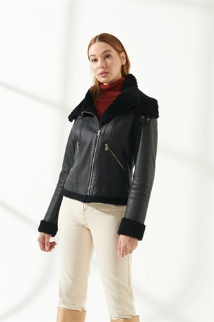 GIANNA Women Casual Black Shearling Jacket