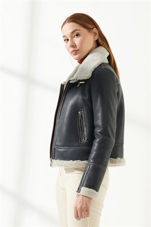 IRINA Women Biker Anthracite Shearling Jacket