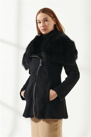 KRISS Women Casual Black Shearling Jacket