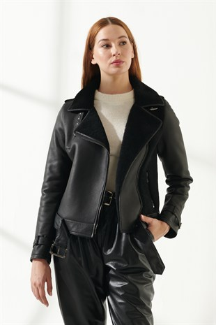 LANA Women Casual Black Shearling Jacket