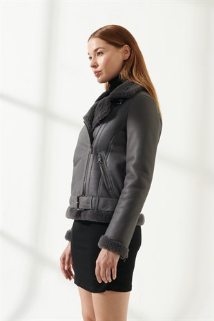 RACHEL Women Biker Grey Shearling Jacket