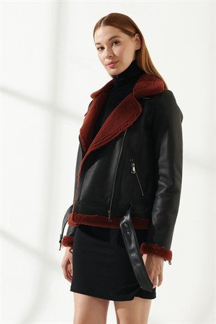 RACHEL Women Biker Black&Brick Shearling Jacket