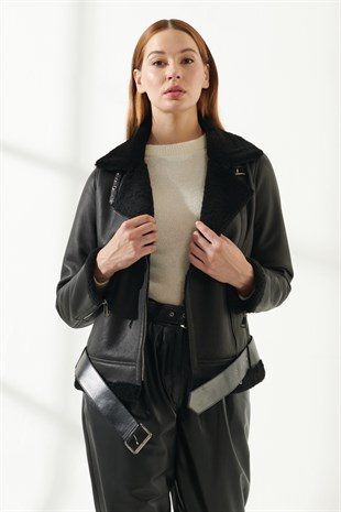 RACHEL Women Biker Black Shearling Jacket