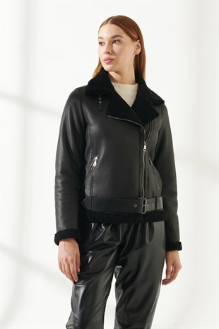 WOMEN'S SHEARLING JACKETRACHEL Women Biker Black Shearling Jacket