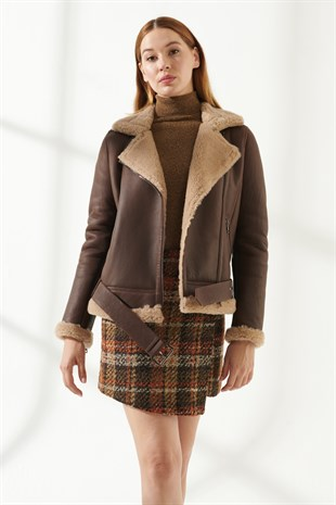 WOMEN'S SHEARLING JACKETRACHEL Women Biker Tan Shearling Jacket