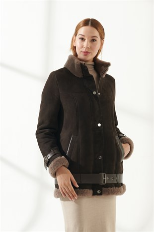 VANESSA Women Casual Brown Shearling Jacket