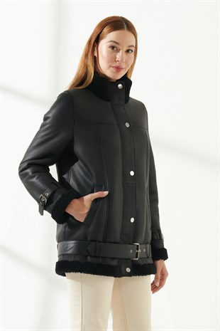 VANESSA Women Casual Black Shearling Jacket