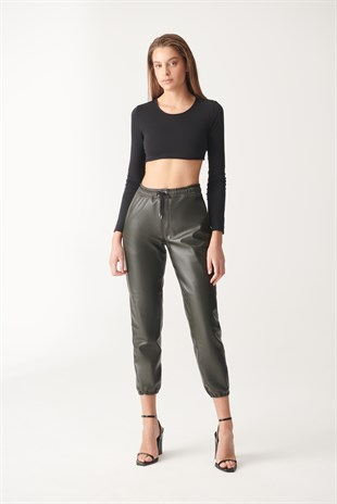 AIDA Green Sport Leather Pants