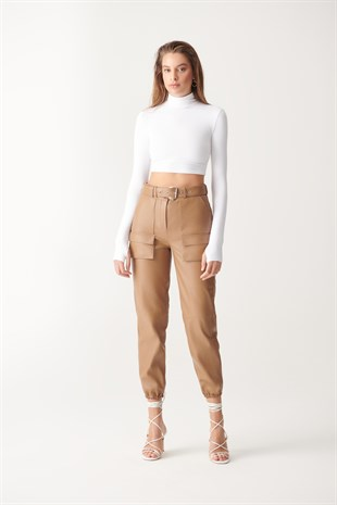 BECCA Brown Sport Leather Pants