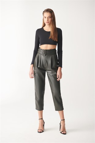 HAZEL Green Sport Leather Trousers