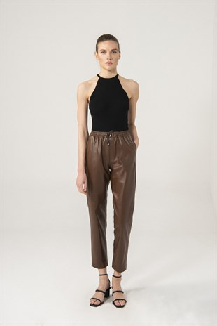 Sienna Women Brown Waist Elastic Pants