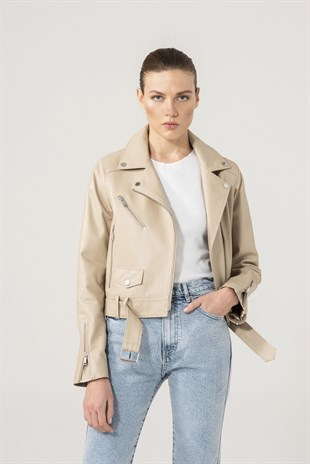 Cindy Women Biker Beige Leather Jacket