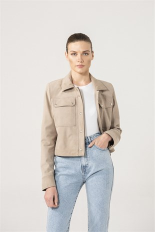 FIONA Women Beige Suede Denim Jacket