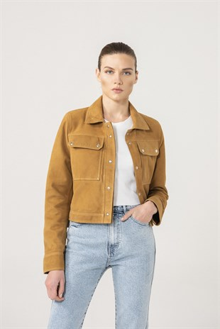 FIONA Women Camel Suede Denim Jacket