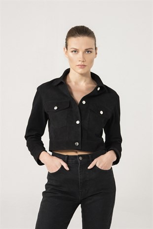 Roza Women Black Suede Denim Jacket
