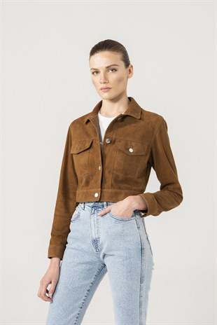 Roza Women Tan Suede Denim Jacket
