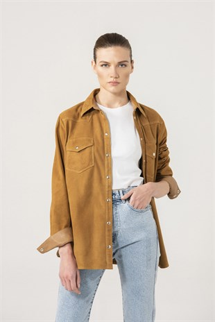 Sophia Women Camel Suede Shirt Jacket