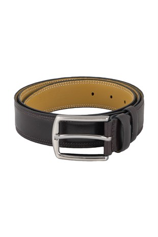 Double Stitched Classic Belt in Brown