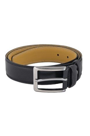 Double Stitched Classic Belt in Black