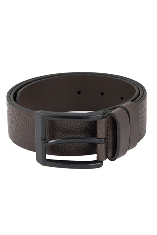 Brown Textured Casual Belt