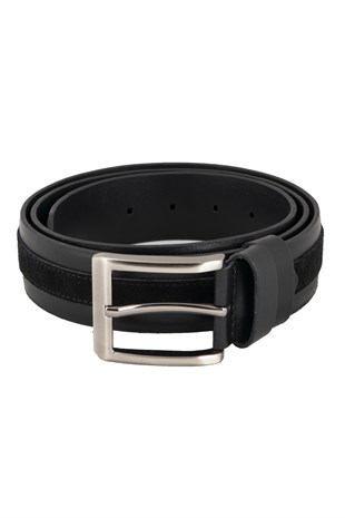 Black Casual Belt with Suede Detail