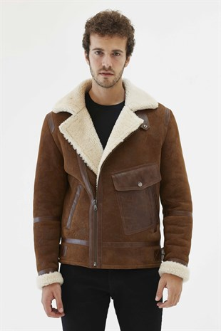 AGUSTO Men Aviator Tan&Off White Shearling Jacket