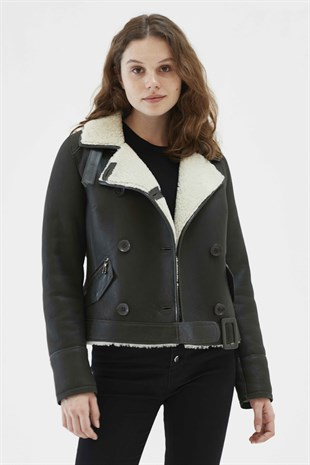 ALMIRA Women Casual Dark Green&White Shearling Jacket