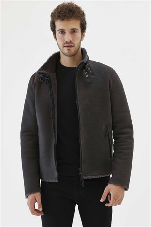 BARBOSA 2 Men Biker Iron Grey Shearling Jacket