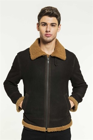 BRUCE 2 Men Aviator Toffee Shearling Jacket