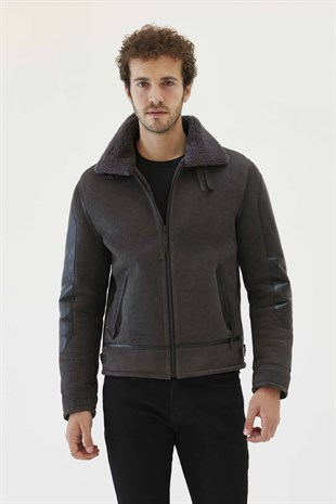 DANIEL Men Biker Iron Grey Shearling Jacket