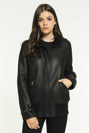DOLLY Women College Black Shearling Jacket