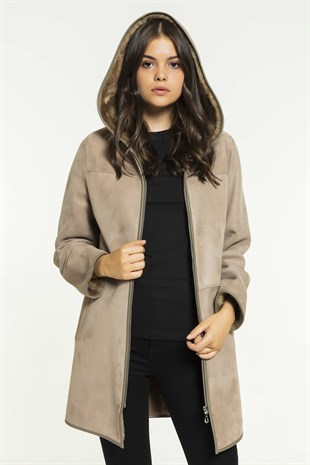 ELLA Women Casual Roasted Shearling Coat