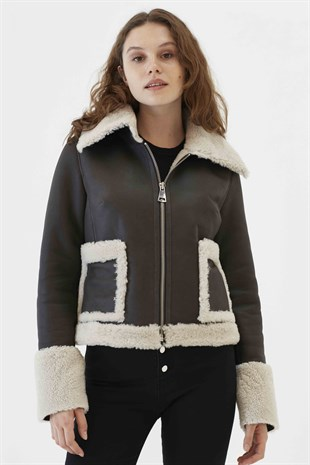 HEIDI Women Casual Grizzly Grey Shearling Jacket
