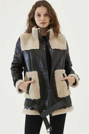 JANE Women Casual Chestnut&Off White Shearling Jacket
