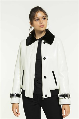 JENNIFER Women College White Shearling Jacket