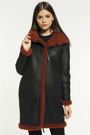 NADIA Women Casual Black&Brick Shearling Coat