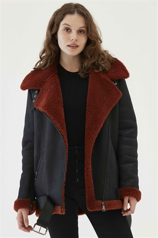 NICHOLE Women Oversize Black&Brick Shearling Jacket
