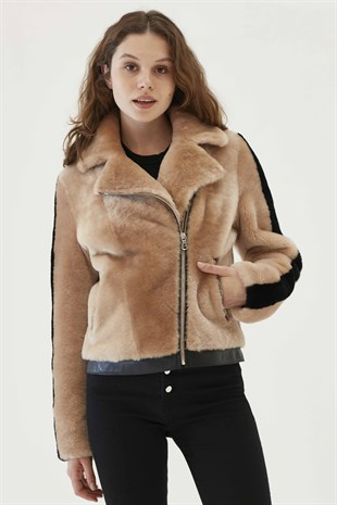 OCEAN Women Casual Salmon Shearling Jacket