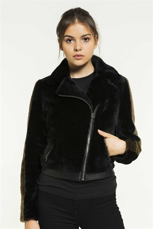 OCEAN Women Casual Black Shearling Jacket