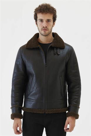 PRONTO 2 Men Aviator Tobacco Brown Shearling Jacket