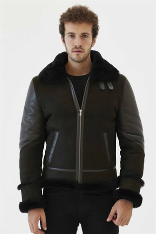 PRONTO Men Aviator Dark Green&Black Shearling Jacket
