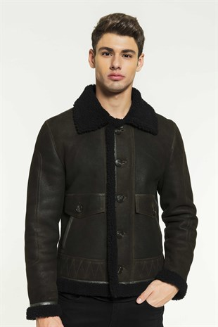 RAUL Men Aviator Dark Green&Black Shearling Jacket